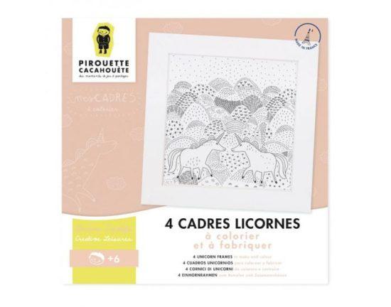 4 Cadres coloriages Licornes