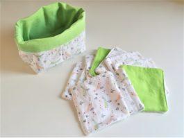 lingettes lavables vert Artisanale