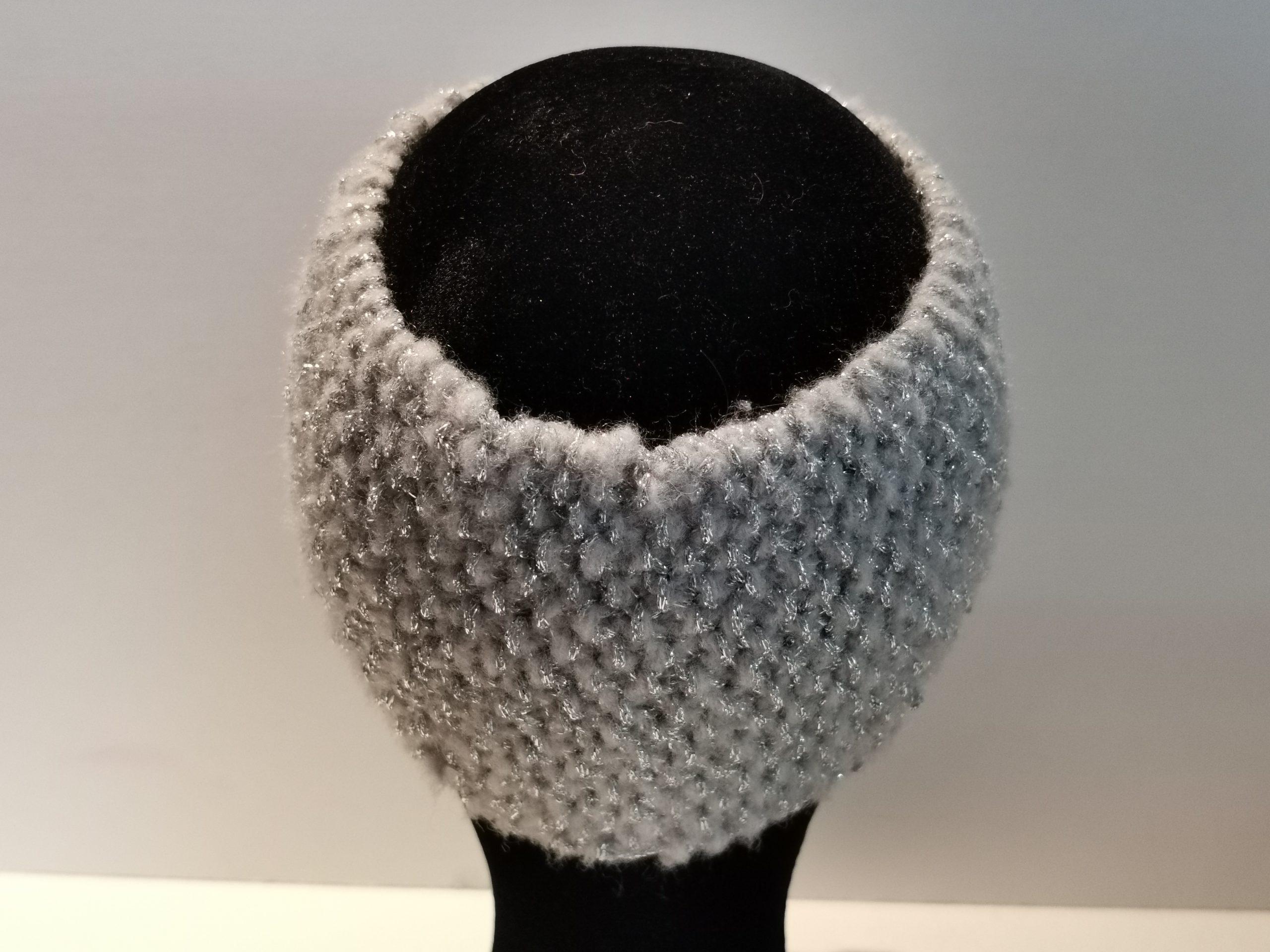 Bandeau laine gris clair et argent