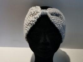 Bandeau laine gris et blanc