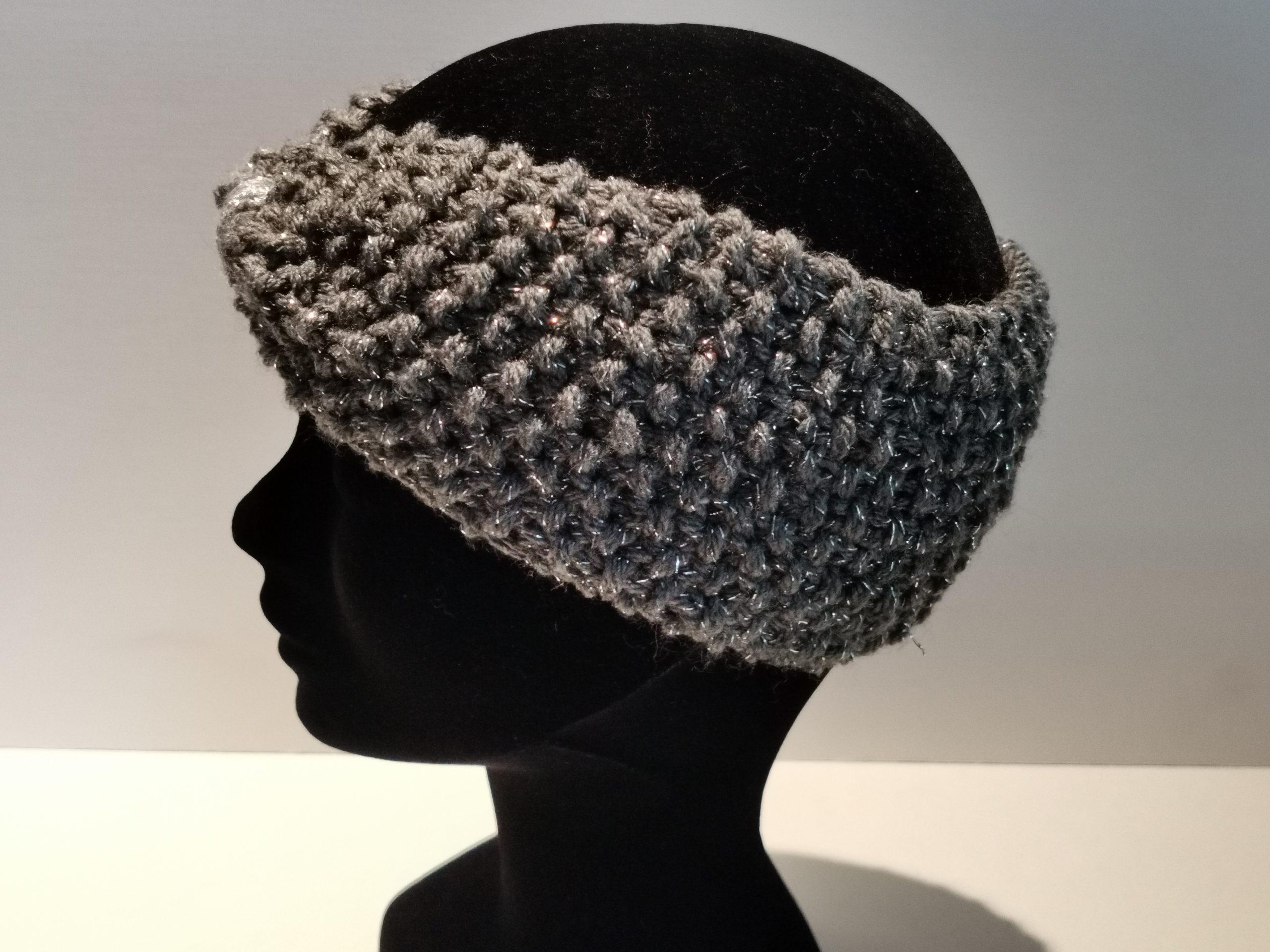 Bandeau laine gris et argent