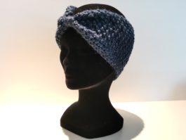 Bandeau laine bleu foncé