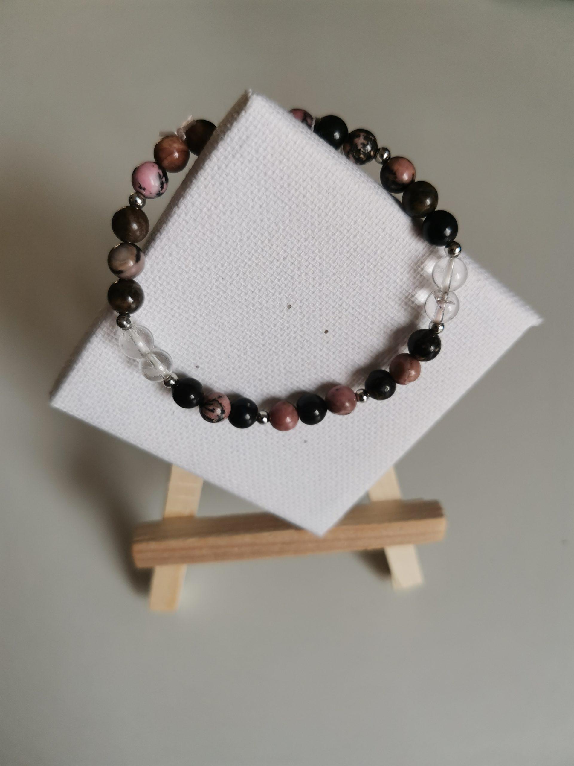 Bracelet Rhodonite et Cristal de Roche
