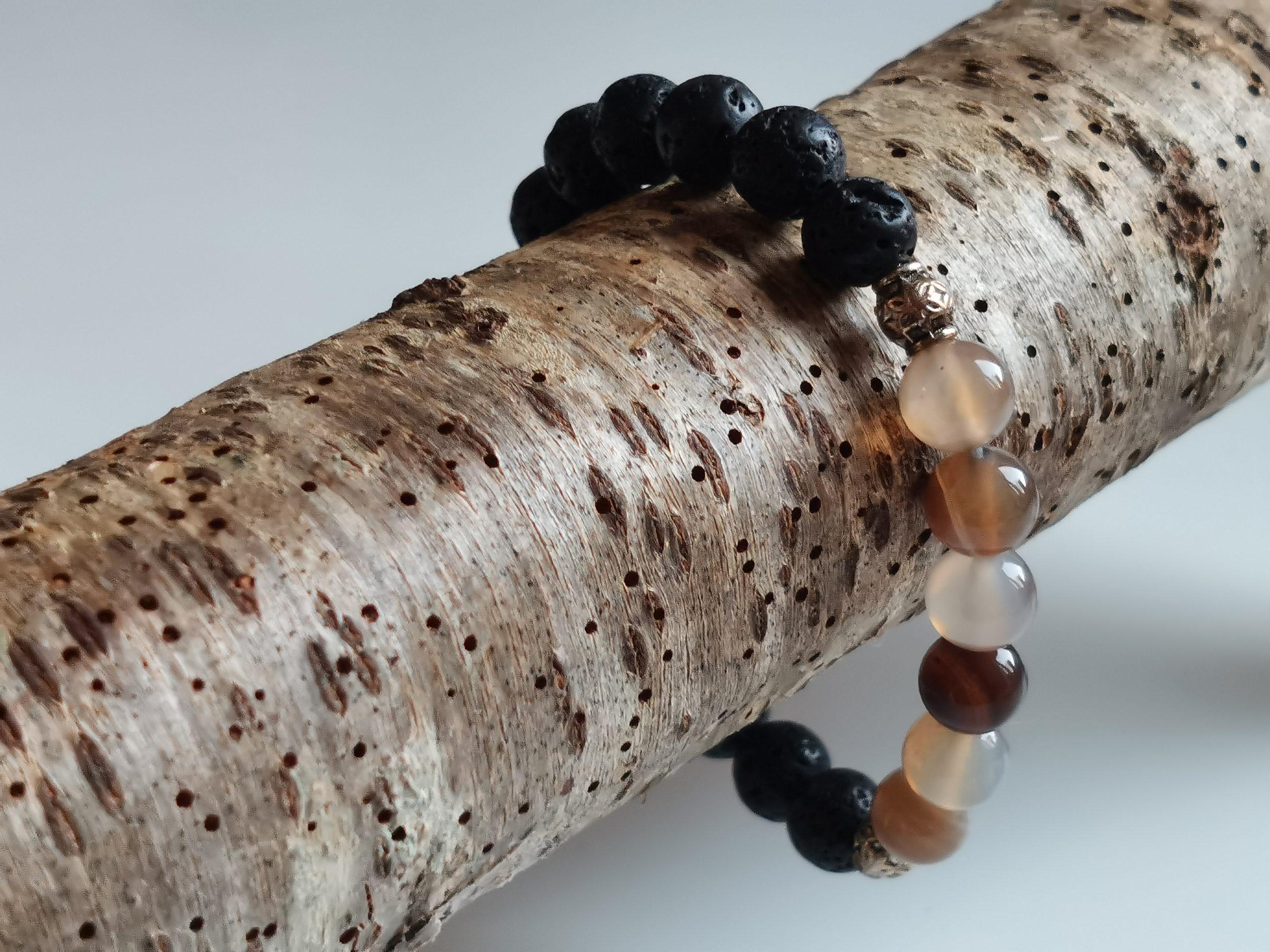 Bracelet agate botswana et pierre de lave