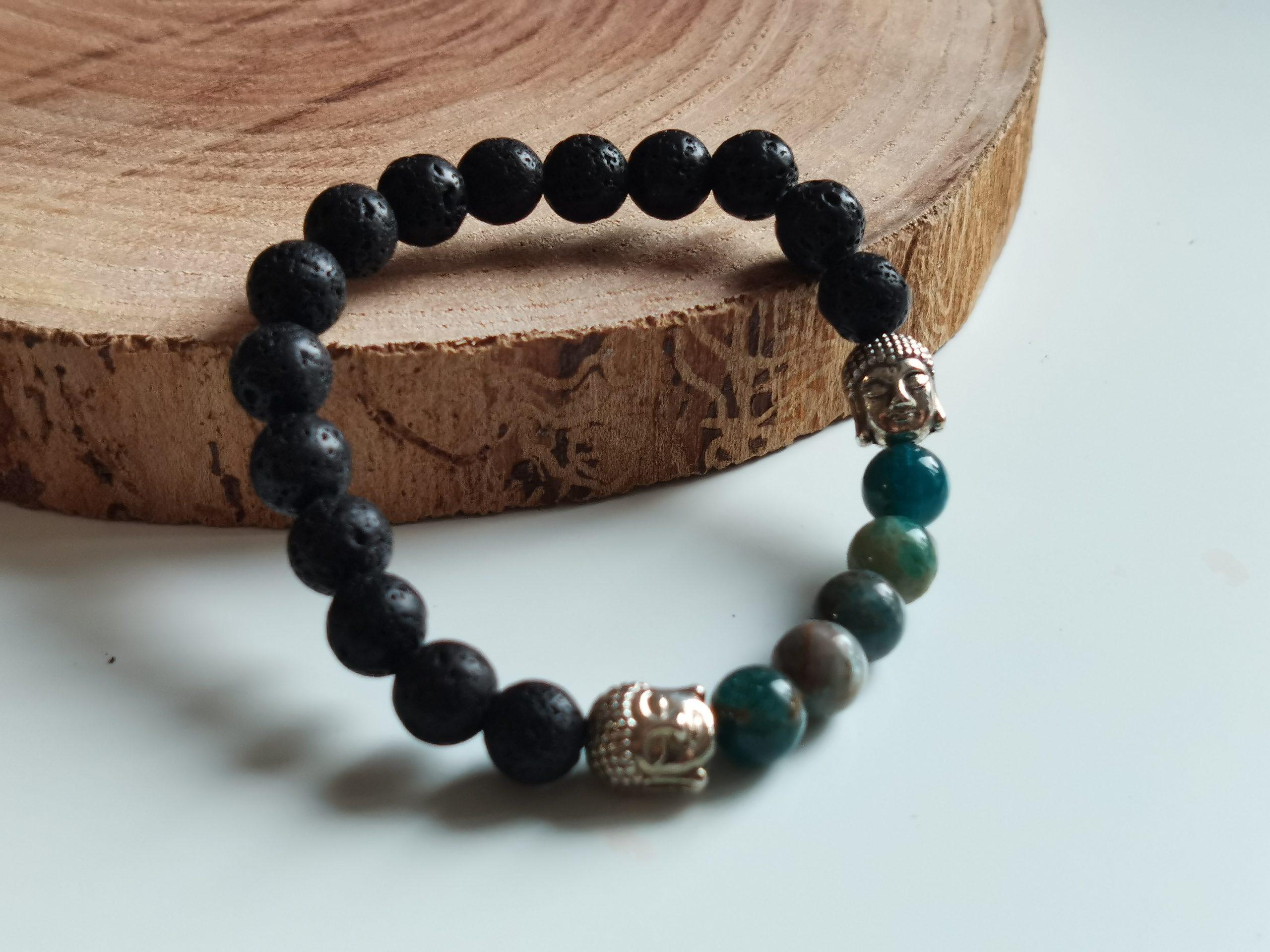 Bracelet apatite et pierre de lave
