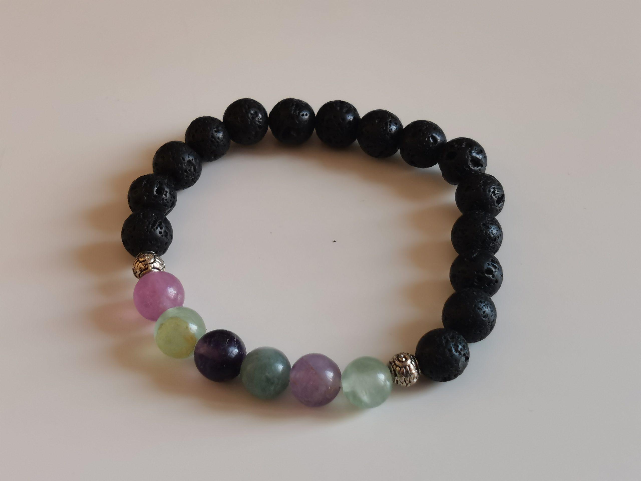 Bracelet Fluorite et pierre de lave
