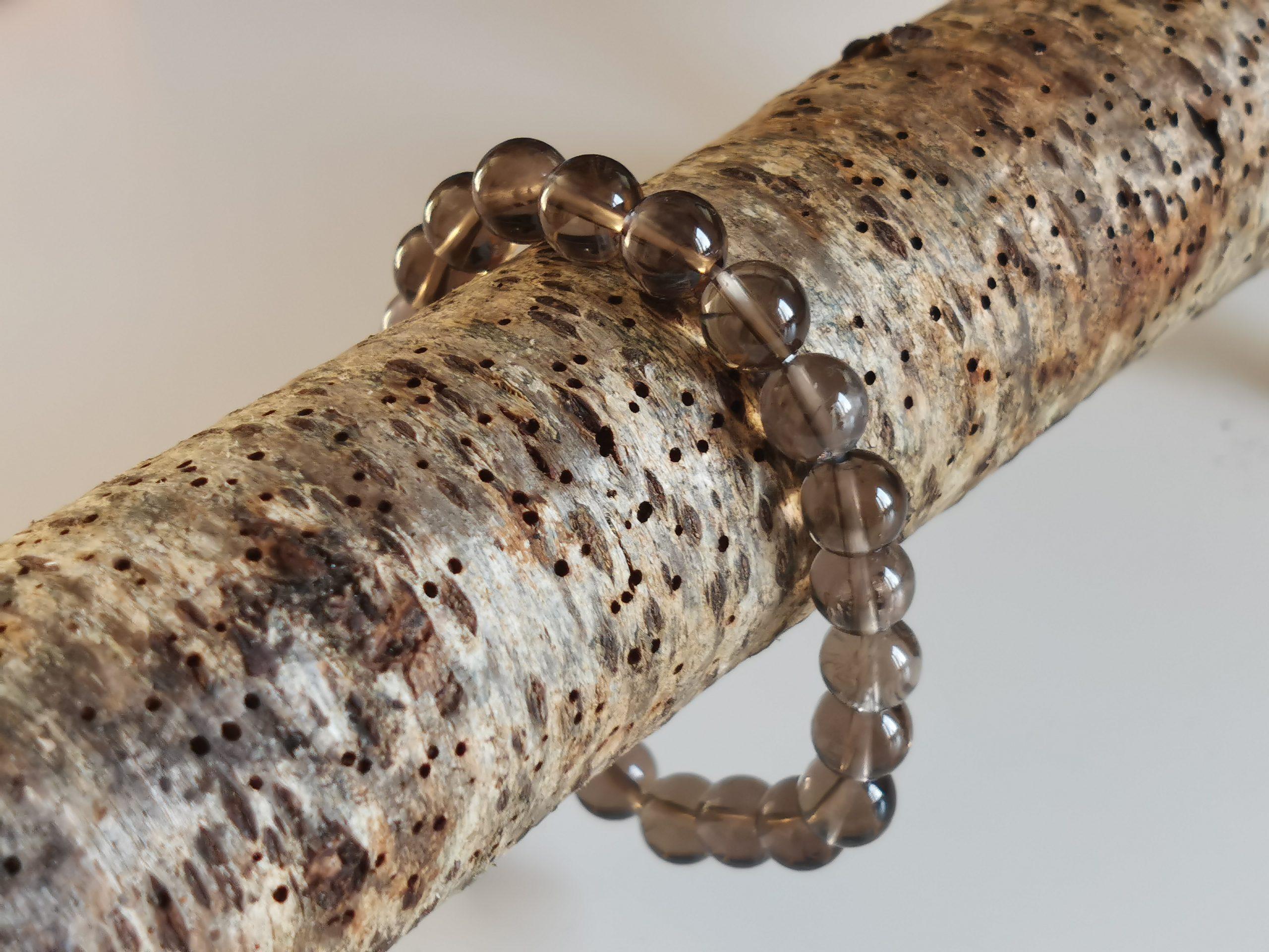Bracelet Quartz fumée perle