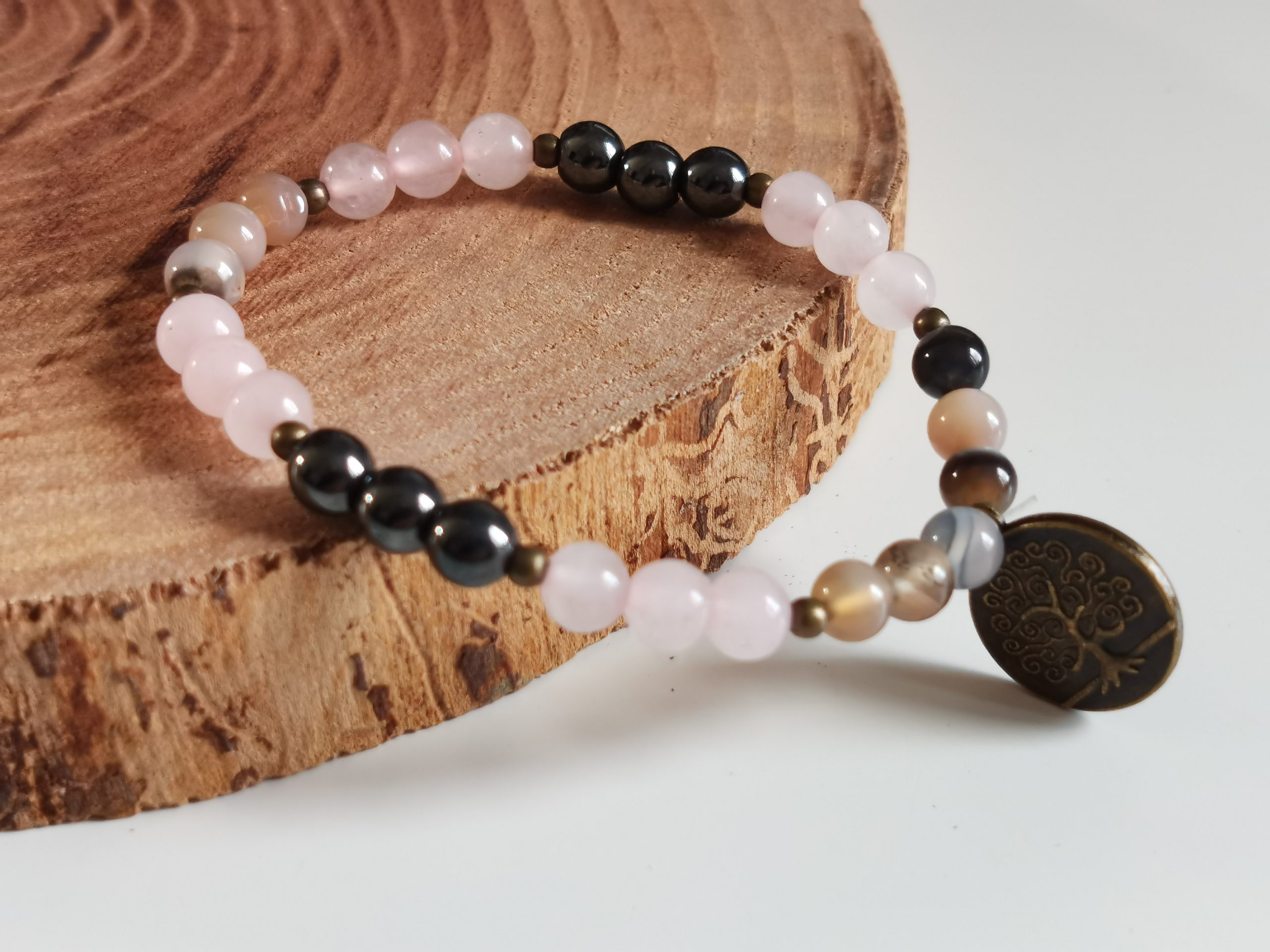 Bracelet hématite, agate Botswana et quartz rose