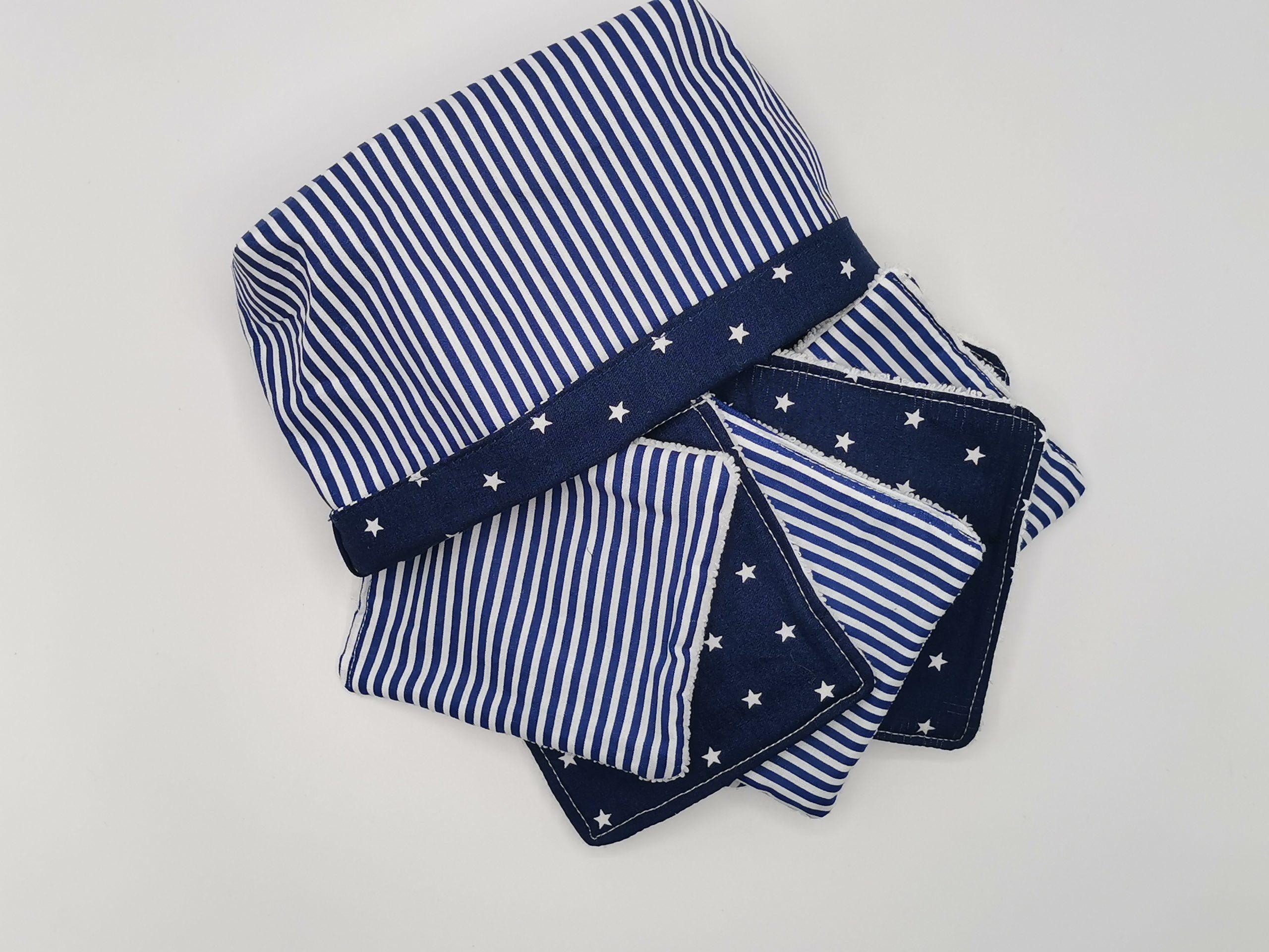 Lingettes lavables bleu